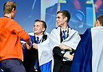 Lille - France- 05 October 2014 --  Euroskills 2014 competition, closing ceremony and medals. -- Team Finland - Miika Niskanen (oik), CAD-suunittelu / Mechanical Engineering and Vili Heikanen (le), CNC-jyrsintä / CNC milling -received pronssi, bronze medals for manufacturing team challenge.  -- PHOTO: SkillsFinland / Juha ROININEN - EUP-IMAGES