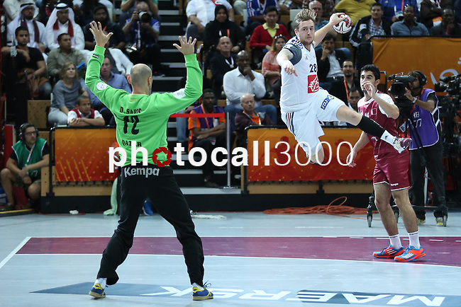 handball wordl cup match between Qatar vs France. Valentin Porte. 2015/02/1. Doha. Qatar. Alberto de Isidro. Photocall3000