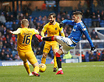 16.02.2020 Rangers v Livingston: Robbie Crawford gets a foot in to deny Ianis Hagi