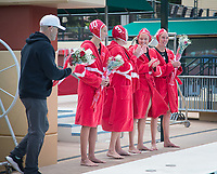 STANFORD, CA - April 20, 2019: Kat Klass, Mackenzie Wiley, Cassidy Wiley, Madison Berggren, John Tanner at Avery Aquatic Center. The #1 Stanford Cardinal took down the #20 San Jose State Spartans 22-4.