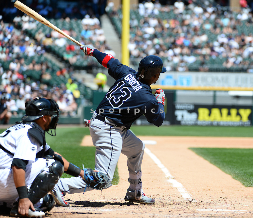 Atlanta Braves Adonis Garcia (13) during a game against the Chicago White Sox on July 9, 2016 at US Cellular Field in Chicago, IL. The White Sox beat the Braves 5-4.