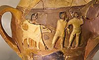 Hüseyindede vases, Old Hittite Polychrome Relief vessel, close up depicting a bull being led to be sacrificed, following Hittite convention of sacrificing an animal of the same gender as the God this bull indicates the sacrifice is to a male god, 16th century BC.. Çorum Archaeological Museum, Corum, Turkey. Against a warm art bacground.