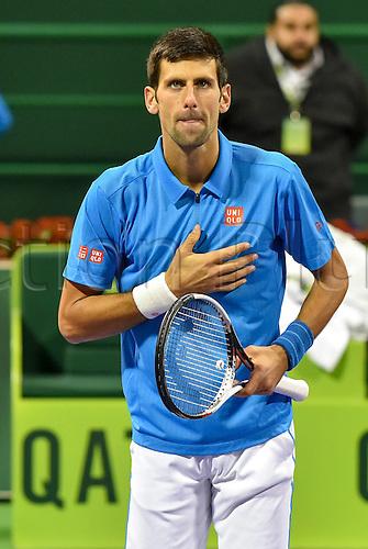 06.01.2017. Doha, Qatar.  Novak Djokovic of Serbia celebrates after the mens singles semifinal against Fernando Verdasco of Spain at the ATP Tennis mens Qatar Open tennis tournament in the Khalifa International Tennis Complex in Doha, capital of Qatar, on Jan. 6, 2017. Novak Djokovic won 2-1.