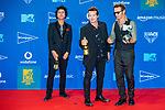 Billie Joe Armstrong, Tre Cool and Mike Dirnt of Green Day in the Winners Room during the MTV European Music Awards 2019 (MTV EMA's) at the FIBES Conference and Exhibition Centre in Seville, Andalusia, Spain.