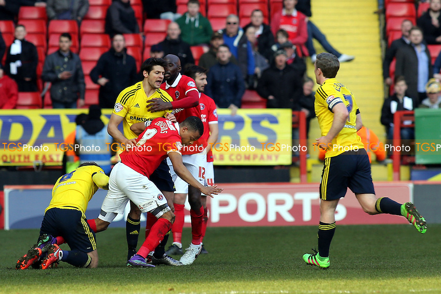 Middlesbrough and Charlton players in a first half skirmish during Charlton Athletic vs Middlesbrough, Sky Bet Championship Football at The Valley on 13th March 2016
