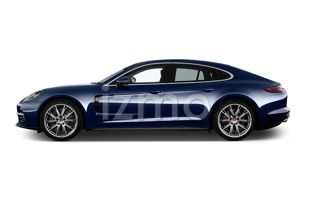 Car driver side profile view of a 2018 Porsche Panamera 4 E-Hybrid 5 Door Hatchback