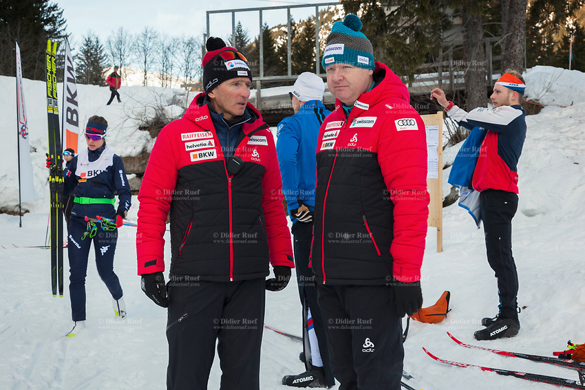 Switzerland. Canton Ticino. Swiss-Cups Campra. Cross Country Skiing. FIS Classic Sprint Race. Hippolyt Kempf  (L) is the Cross Country Skiing Chef by Swiss-Ski. Bernhard Aregger (R) is the CEO of Swiss-Ski. Hippolyt Kempf (born 10 December 1965) is a Swiss Nordic combined skier who competed during the late 1980s and early 1990s. He won a complete set of Olympic medals, earning two of them at the 1988 Winter Olympics in Calgary (gold: 15 km individual, silver: 3 x 10 km team) and the third at the 1994 Winter Olympics in Lillehammer (bronze: 3 x 10 km team). Kempf also earned a 3 x 10 km team silver medal at the 1989 FIS Nordic World Ski Championships in Lahti. Swiss-Ski is a branch of Swiss Olympic. The Fédération Internationale de Ski (FIS; English: International Ski Federation) is the world's highest governing body for international winter sports. Founded  on 2 February 1924, it is responsible for the Olympic disciplines of cross-country skiing. The FIS is also responsible for setting the international competition rules. 4.01.2020 © 2020 Didier Ruef