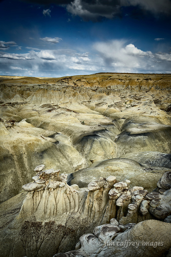 The yellow badlands on the southern edge of Ah Shi Sle Pah Wash in New Mexico's San Juan Basin.
