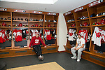 Wisconsin Badgers men's hockey players sit in their new locker room onmove-in day at the LaBahn Arena Monday, October 1, 2012 in Madison, Wisc. (Photo by David Stluka)
