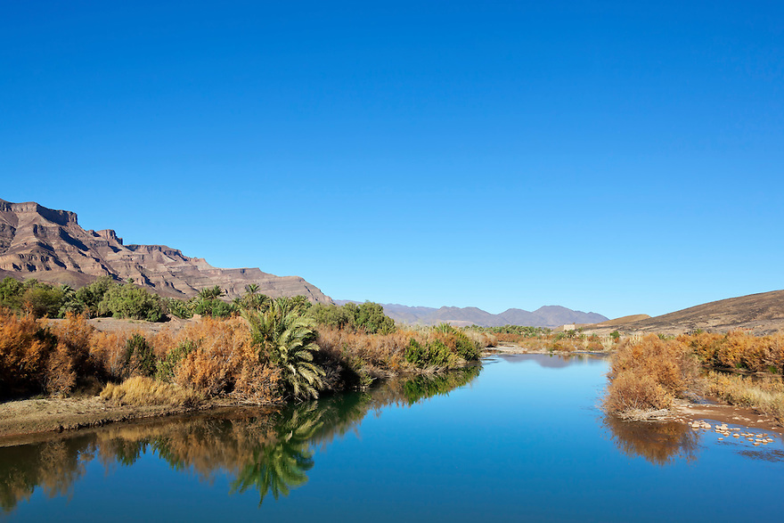 Jebel Kissane Mountains with Draa River in the Draa Valley, Morocco.