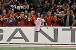 Berlin, Germany, February 01: Fans of Duesseldorfer HC celebrate their team after defeating HTC Uhlenhorst Muehlheim 4-1 to win the Deutsche Meisterschaft on February 1, 2015 at the Final Four tournament at Max-Schmeling-Halle in Berlin, Germany. Final score 4-1 (1-0). (Photo by Dirk Markgraf / www.265-images.com) *** Local caption ***