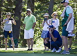 Tony Romo lines up a putt during the ACC Golf Tournament at Edgewood Tahoe Golf Course in South Lake Tahoe on Sunday, July 14, 2019.