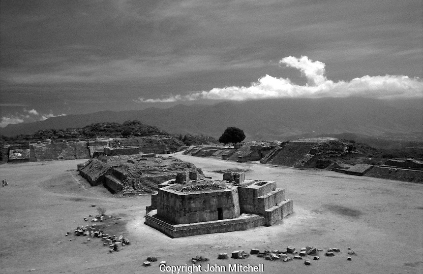 The Great Plaza at the pre-Hispanic ruins of Monte Alban, Oaaca, Mexico