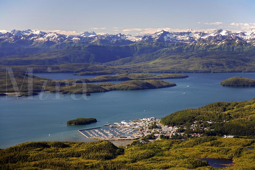 Aerial Cordova, Orca Inlet, Prince William Sound, Chugach National Forest, Alaska.