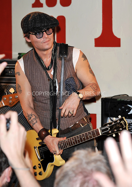 WWW.ACEPIXS.COM . . . . .  ..... . . . . US SALES ONLY . . . . .....June 28 2011, New York City....Johnny Depp performed as a special guest with Alice Cooper on stage at the 100 Club on June 28 2011 in London....Please byline: FAMOUS-ACE PICTURES... . . . .  ....Ace Pictures, Inc:  ..Tel: (212) 243-8787..e-mail: info@acepixs.com..web: http://www.acepixs.com