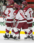 Jimmy Vesey (Harvard - 19), Tyler Moy (Harvard - 2), Alexander Kerfoot (Harvard - 14), Sean Malone (Harvard - 17) - The Harvard University Crimson defeated the visiting Princeton University Tigers 5-0 on Harvard's senior night on Saturday, February 28, 2015, at Bright-Landry Hockey Center in Boston, Massachusetts.