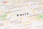 Closeup of Paris city map on the screen of a GPS device, Apple iPhone maps app