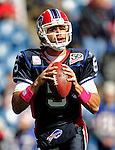 11 October 2009: Buffalo Bills' quarterback Trent Edwards warms up prior to facing the Cleveland Browns at Ralph Wilson Stadium in Orchard Park, New York. The Browns defeated the Bills 6-3 for Cleveland's first win of the season...Mandatory Photo Credit: Ed Wolfstein Photo