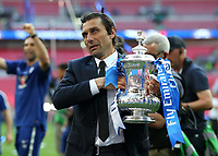 19th May 2018, Wembley Stadium, London, England; FA Cup Final football, Chelsea versus Manchester United; Chelsea Manager Antonio Conte holds the FA Cup towards the Chelsea fans
