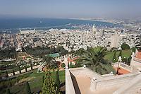 Asie/Israël/Galilée/Haïfa: Temple et Jardins Bahaïs sur le Mont Carmel et panorama sur le port et la baie