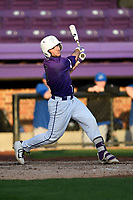 Right fielder David Webel (5) of the Furman Paladins bats in a game against the UNC Asheville Bulldogs on Wednesday, February 27, 2019, at Latham Baseball Stadium on the Furman University campus in Greenville, South Carolina. UNC Asheville won, 4-3. (Tom Priddy/Four Seam Images)