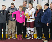 Checking out the new Patty Kaz banner - Allison Quandt (BC - Assistant Coach),  Brendan, Julie and Bobby Carpenter, Alex Carpenter (BC - 5), ?, ? - The Boston College Eagles defeated the visiting Providence College Friars 7-1 on Friday, February 19, 2016, at Kelley Rink in Conte Forum in Boston, Massachusetts.