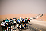 The peloton in action during Stage 1 of the Saudi Tour 2020 running 173km from Saudi Arabian Olympic Committee to Jaww, Saudi Arabia. 4th February 2020. <br /> Picture: ASO/Pauline Ballet | Cyclefile<br /> All photos usage must carry mandatory copyright credit (© Cyclefile | ASO/Pauline Ballet)