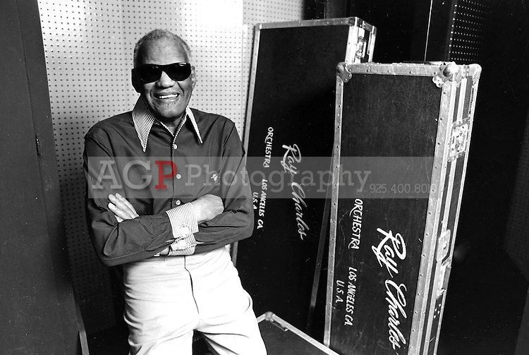 Musician Ray Charles poses in his studio in Los Angeles, Calif., on April 17, 1989.  (Photo by Alan Greth)