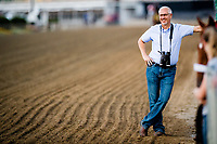 BALTIMORE, MD - MAY 18: Trainer Todd Pletcher, watches as Always Dreaming trains on the track in preparation for the Preakness Stakes at Pimlico Race Course on May 18, 2017 in Baltimore, Maryland.(Photo by Douglas DeFelice/Eclipse Sportswire/Getty Images)