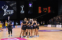 NZ celebrate winning the Constellation Cup Netball Series match between the New Zealand Silver Ferns and Australia Diamonds at Horncastle Arena in Christchurch, New Zealand on Sunday, 13 October 2019. Photo: Dave Lintott / lintottphoto.co.nz