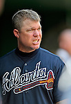 22 July 2012: Atlanta Braves third baseman Chipper Jones in the dugout during a game against the Washington Nationals at Nationals Park in Washington, DC. The Braves fell to the Nationals 9-2 splitting their 4-game weekend series. Mandatory Credit: Ed Wolfstein Photo