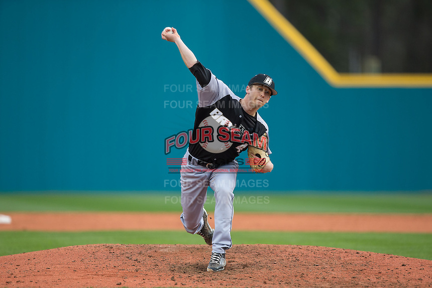 Bryant Bulldogs relief pitcher James Davitt (4) in action against the Coastal Carolina Chanticleers at Springs Brooks Stadium on March 13, 2015 in Charlotte, North Carolina.  The Chanticleers defeated the Bulldogs 7-2.  (Brian Westerholt/Four Seam Images)