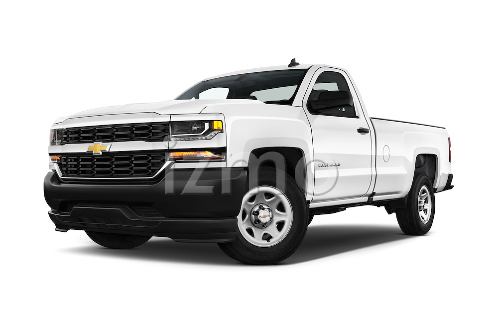 Stock pictures of low aggressive front three quarter view of 2016 Chevrolet Silverado 1500 1WT Regular Cab Long Box 3 Door Pick-up Low Aggressive