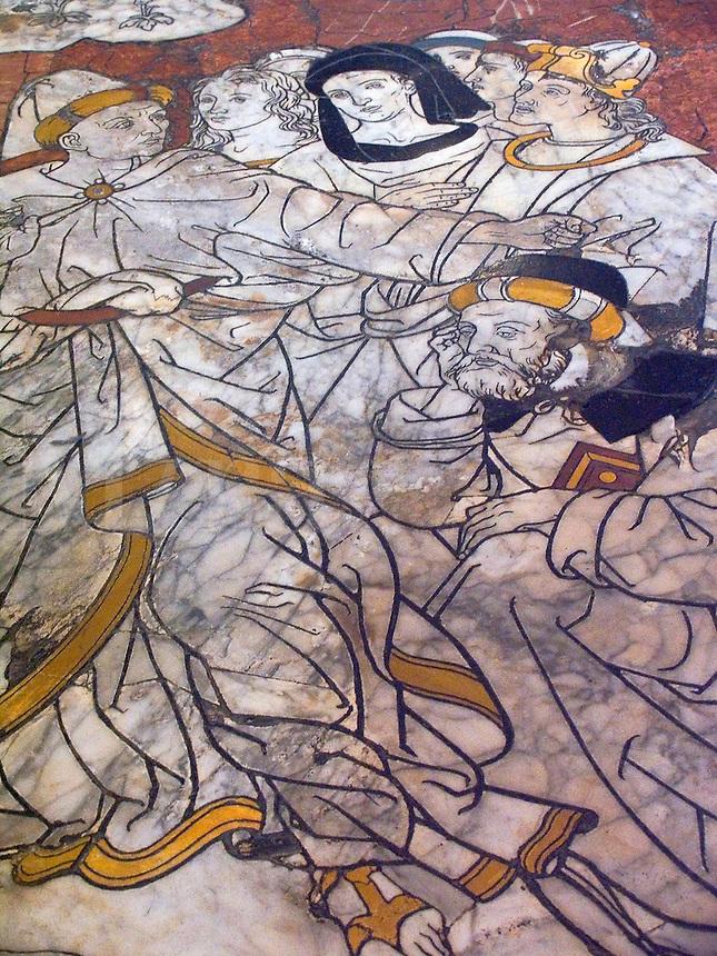 Inlaid marble floor of Duomo, Siena, Ital