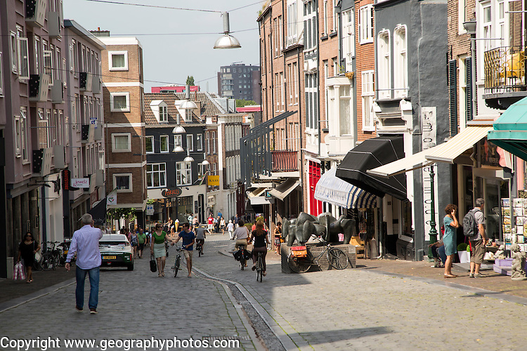 Historic Hezelstraat street on a hill, central Nijmegen, Gelderland, Netherlands