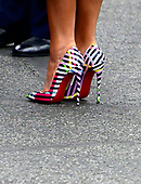 Shoes worn by first lady Melania Trump as she and United States President Donald J. Trump return to the South Lawn of the White House in Washington, DC from their European trip on Friday, June 7, 2019.<br /> Credit: Ron Sachs / CNP