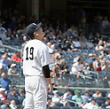 Masahiro Tanaka (Yankees), JULY 23, 2015 - MLB : New York Yankees starting pitcher Masahiro Tanaka reacts after giving up a solo home run to Baltimore Orioles' J.J. Hardy in the eighth inning during a baseball game against the Baltimore Orioles at Yankee Stadium in New York, United States. (Photo by AFLO)