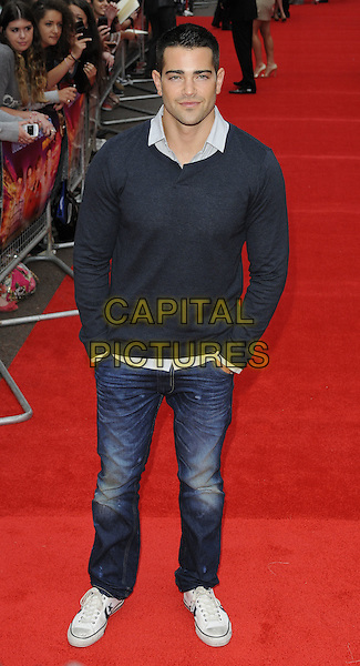 "JESSE METCALFE.""The Inbetweeners Movie"" UK premiere, Vue West End cinema, Leicester Square, London, England..August 16th, 2011.full length length shirt jumper sweater top blue collar jeans denim hands in pockets .CAP/CAN.©Can Nguyen/Capital Pictures."
