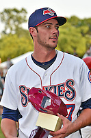 Tennessee Smokies third baseman Kris Bryant #17 after winning the Southern League Home Run Derby at Engel Stadium on June 16, 2014 in Chattanooga, Tennessee.  (Tony Farlow/Four Seam Images)
