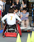 July 23, 2017, Chiba, Japan - A man tries to play wheelchair rugby with Paralympians at a promotional event of Paralympic sports at a shopping mall in Chiba, suburban Tokyo on Sunday, July 23, 2017. People try to play Paralympic sports such as wheelchair basketball and wheelchair rugby with Paralympic athletes at the event sponsored by Japan Airlines (JAL).   (Photo by Yoshio Tsunoda/AFLO) LwX -ytd-