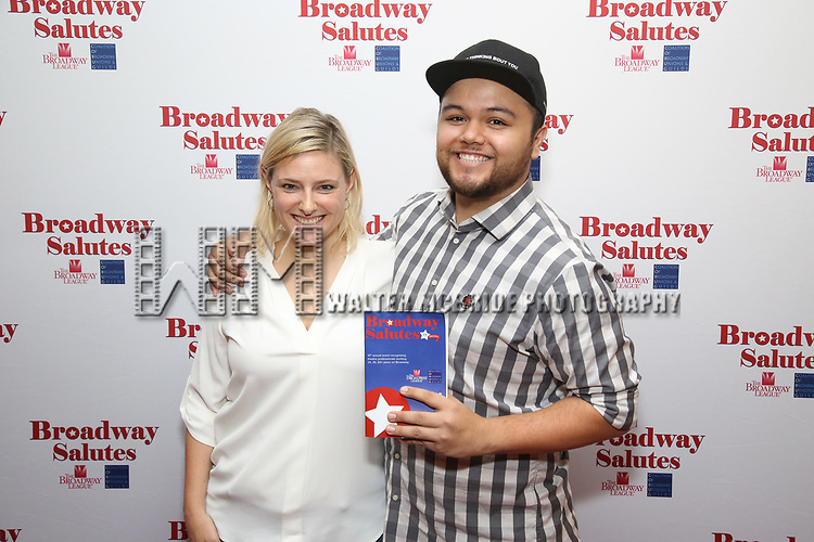 Laura Heywood and Dominic Grijalva attends Broadway Salutes 10 Years - 2009-2018 at Sardi's on November 13, 2018 in New York City.