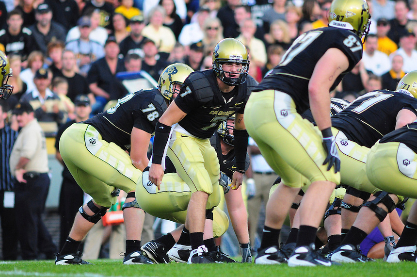 18 October 08: Colorado quarterback Cody Hawkins yells a call to his offense during a game against Kansas State. The Colorado Buffaloes defeated the Kansas State Wildcats 14-13 at Folsom Field in Boulder, Colorado.