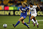 02 December 2011: Duke's Maddy Haller (18) and Wake Forest's Marisa Park (15). The Duke University Blue Devils defeated the Wake Forest University Demon Deacons 4-1 at KSU Soccer Stadium in Kennesaw, Georgia in an NCAA Division I Women's Soccer College Cup semifinal game.