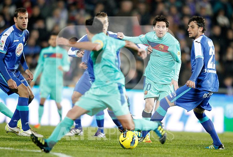 Getafe's  against Barcelona's  during La Liga match. November 27, 2011. (ALTERPHOTOS/Alvaro Hernandez)