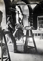 BNPS.co.uk (01202 558833)<br /> Pic: BlenheimPalace/BNPS<br /> <br /> Snapshot from Gladys Deacons photo album showing her posing for a sculture by Jacob Epstein.<br /> <br /> Let's Misbehave - A fascinating insight into the heady world of the upper classes in the roaring twenties has opened at Blenheim Palace.<br /> <br /> The 9th Duke of Marlborough and his second wife, American intellectual Gladys Deacon, were lavish hosts at the baroque Oxfordshire Palace.<br /> <br /> Their frequent house parties in a time of great social, artistic and political change were attended by friends as diverse as Winston Churchill, Edith Sitwell, Jacob Epstein and Bloomsbury set founders Lytton Strachey and Virginia Woolf.<br /> <br /> The exhibition showcases their lavish lifestyles in a series of scenes within the Palaces elegant State Rooms.<br /> <br /> Actors portraying the leading characters interact with the visiting public to give a flavour of the famously decadent decade.