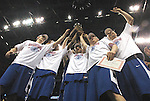March 5,  2011         Indiana State players celebrate by holding aloft the trophy after they defeated MIssouri State 60-56 in the championship game of the NCAA Missouri Valley Conference Men's Basketball Tournament on Sunday March 6, 2011 at the Scottrade Center in downtown St. Louis.  They received an automatic bid to the NCAA Basketball Tournament