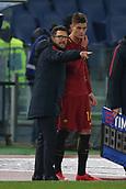 1st December 2017, Stadio Olimpico, Rome, Italy; Serie A football. AS Roma versus Spal;  EUSEBIO DI FRANCESCO and PATRIK SCHICK Roma