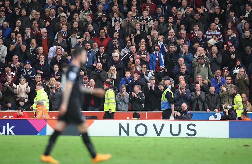 General view of Burnley fans as Danny Ings goes off<br /> <br /> Photographer Jack Phillips/CameraSport<br /> <br /> Football - Barclays Premiership - Stoke City v Burnley  - Saturday 22nd November 2014 - Britannia Stadium - Stoke<br /> <br /> &copy; CameraSport - 43 Linden Ave. Countesthorpe. Leicester. England. LE8 5PG - Tel: +44 (0) 116 277 4147 - admin@camerasport.com - www.camerasport.com