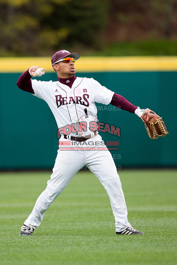Keenen Maddox #1 of the Missouri State Bears throws a ball back to the infield during a game against the Wichita State Shockers at Hammons Field on May 4, 2013 in Springfield, Missouri. (David Welker/Four Seam Images)