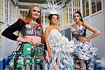 Anna Ní Chonchúir, Niamh Ní Shionnainn and Karen Ní Dhubhlainn, students attending Gaelcholáiste Chiarraí, who will take part in a Junk Couture fashion show, which takes place in March, they will model their own outfits, all of which are completely made out of recycled materials.